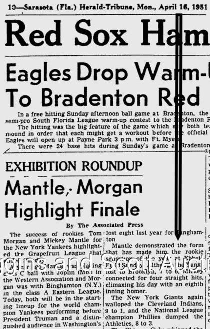 screen shot of Monday 4/16/51 Sarasota Newspaper detailing Mantle's home run at Ebbets Field on Sunday 4/15/51. Does not accompany the lot.