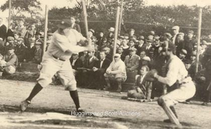 Image taken from longislandpress.com and shows Ruth at the plate on the day the home run ball was hit. Image does not accompany the ball.